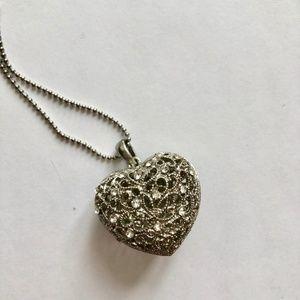 Long Silver Heart Pendant Necklace w/ Rhinestones